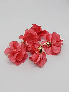 Polotovary - Textilné kvety - pár (Melónová) - 10686965_