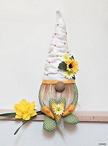 Dekorácie - Jarný škriatok - zeleno oranžový - 10688337_