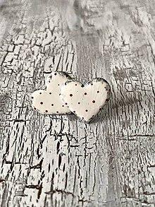 Náušnice - maľované bodkované srdiečka (Červené bodky) - 10689246_