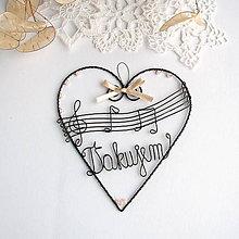 Dekorácie - srdiečko pre hudobníka  15cm (Béžová) - 10692240_