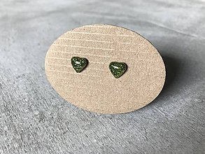 Náušnice - Zelené mini srdiečka - 10692927_