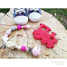 Detské doplnky - Hryzatko vláčik červený - 10692578_