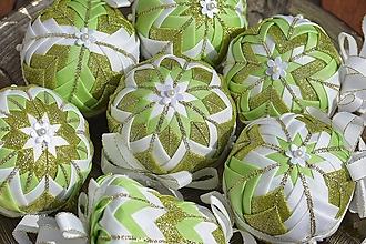 Dekorácie - Patchworkové gule - Zelený set - 10692514_