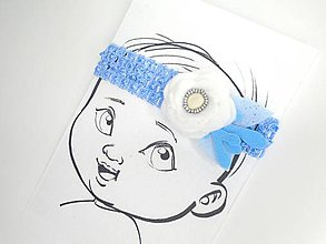 Detské doplnky - Nežná čelenka pre bábätko (Modrá) - 10690545_