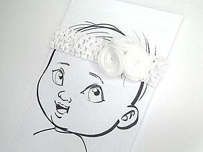 Detské doplnky - Nežná čelenka pre bábätko (Biela) - 10690568_