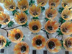 Kresby - Slnečnice na skle - sklenené poháre - 10692096_