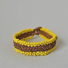 Náramky - kožený etno náramok, žlté korálky, Egyptský africký náramok - 10691265_
