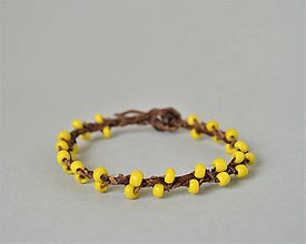 Náramky - žlté korálky náramok, Kožený etno náramok, Egyptský africký náramok - 10691283_