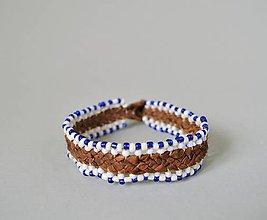 Náramky - kožený etno náramok, Egyptský africký náramok - 10691350_