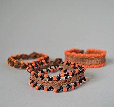 Náramky - kožený etno náramok, Egyptský africký náramok - 10691356_