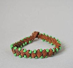 Náramky - kožený etno náramok, Egyptský africký náramok - 10692120_