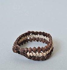 Náramky - Náramok z palmových listov a prírodnej kože - 10692645_