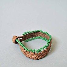 Náramky - kožený etno náramok, Egyptský africký náramok - 10693052_