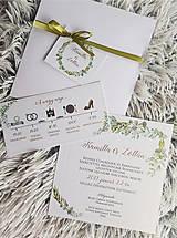 Papiernictvo - Svadobné oznámenie greenery - 10690382_