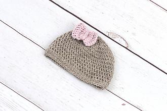 Detské čiapky - Hnedo-bledoružová čiapka EXCLUSIVE FINE - 10691334_