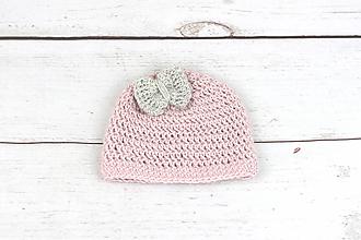 Detské čiapky - Bledoružovo-sivá čiapka EXCLUSIVE FINE - 10691377_