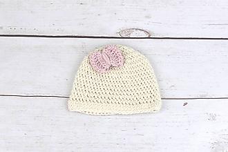 Detské čiapky - Krémovo-bledoružová čiapka EXCLUSIVE FINE - 10691484_
