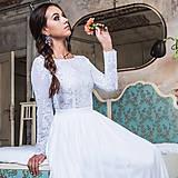 Šaty - Svadobné šaty s elastického tylu s dlhými rukávmi - 10692116_