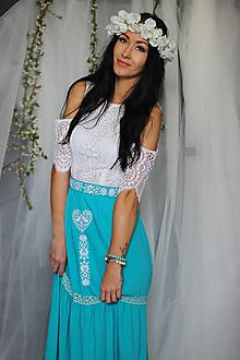 Šaty - Spoločenské šaty s FOLK výšivkou v gypsy štýle - 10692853_