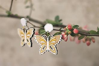 Náušnice - Motýľovce (Zlatá) - 10691040_