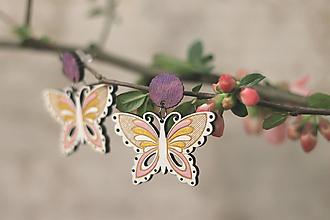 Náušnice - Motýľovce (Ružová) - 10691045_