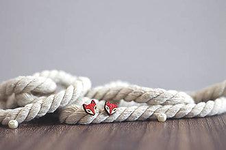 Náušnice - Líščatá mini napichovačky (Červená) - 10691805_