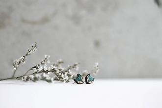 Náušnice - Líščatá mini napichovačky (Tyrkysová) - 10691818_