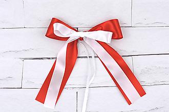 Dekorácie - Mašľa stredná červeno-biela - 10691190_
