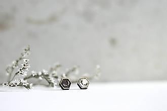 Náušnice - Mini príroda (Hexagon Parôžky mix) - 10691676_
