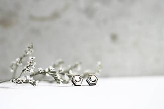 Náušnice - Mini príroda (Hexagon Parôžky) - 10691686_