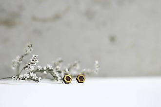 Náušnice - Mini  (Hexagon Zlatistý) - 10691708_