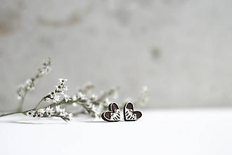 Náušnice - Srdce z lesa - 10691729_