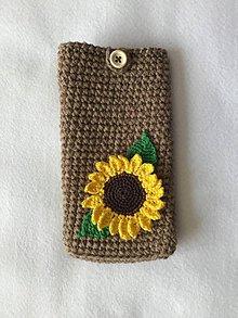 Na mobil - Háčkovaný obal na mobil alebo okuliare slnečnica - 10690768_