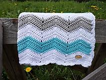 Textil - Háčkovaná deka ZIG ZAG TIMMY (100% bavlna) - 10692970_