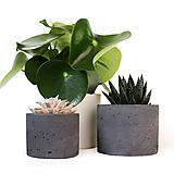 Nádoby - Cierny betonovy kvetinac - 10691228_