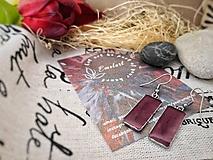 Náušnice - Vínovo-červené náušnice - 10691521_
