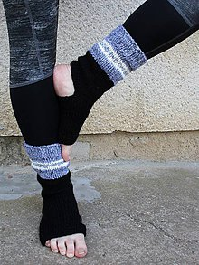Obuv - ponožky na jógu sivá-čierna - 10692385_