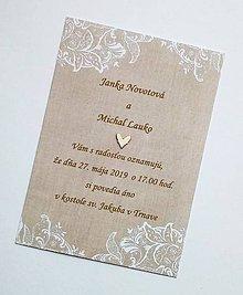 Papiernictvo - svadobné oznámenie natur - 10690884_