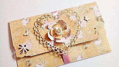 Papiernictvo - svadobná obálka na peniaze shabby - 10691761_