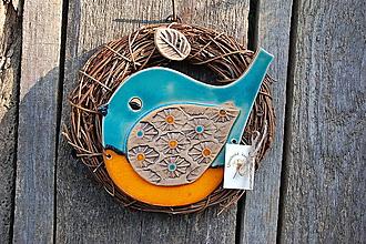 Dekorácie - Vtáčik vo venčeku č. 89 - 10690504_