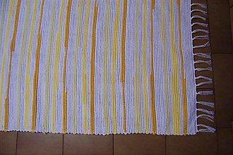 Úžitkový textil - Tkaný koberec bielo-žlto-oranžový - 10693110_