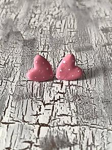Náušnice - maľované bodkované srdiečka (MiNi ružové) - 10690831_