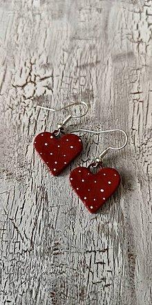 Náušnice - bodkované srdiečka  (tmavo červené) - 10690932_