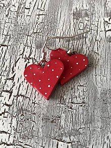 Náušnice - bodkované srdiečka  (bledo červené) - 10690933_