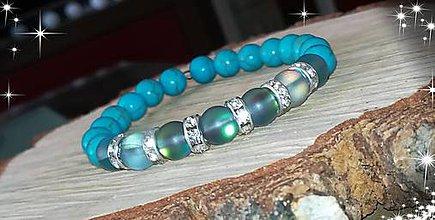 Náramky - Náramok na želanie použity syntetický mesačný kameňa šedy krásne meni farbu synteticky tyrkys - 10695155_