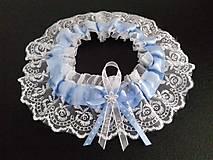 Bielizeň/Plavky - Svadobný podvazok -  tradičný modrý - 10693545_