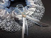 Bielizeň/Plavky - Svadobný podvazok -  tradičný modrý - 10693554_