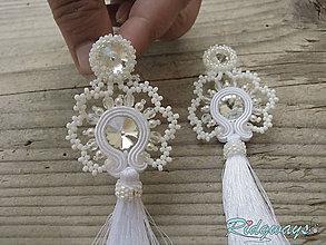 Náušnice - Swarovski v čipke ukrytý - White/Crystal...soutache - 10694368_