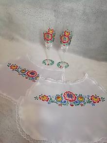 Drobnosti - Folk svadobný set - podbradníky a poháre 2 - 10694163_