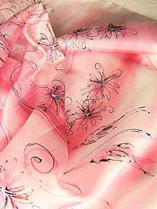 Šatky - Astry / hedvábný šátek 55 x 55 cm/ - 10693519_